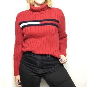 Tommy Hilfiger Red Ribbed Logo Turtleneck Sweater